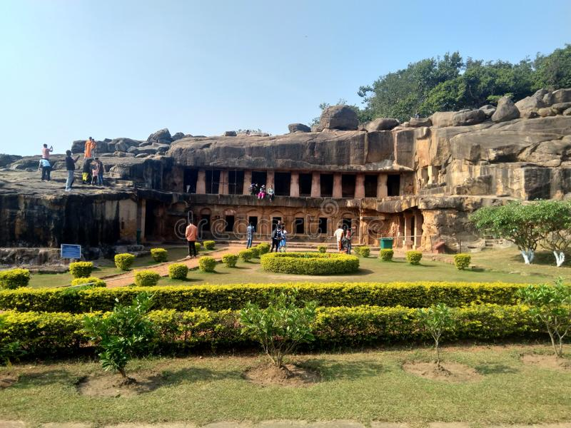 Cueva Udaygiri en Bhubaneshwar Odisha imagen de archivo