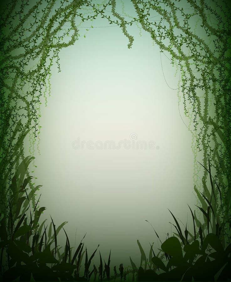 Cueva verde de la selva tropical del matorral, silueta profunda del bosque de hadas, stock de ilustración