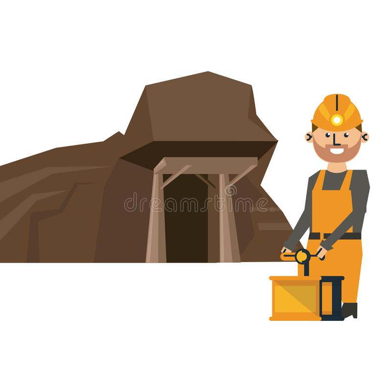Cueva y trabajador mineros con el detonador ilustración del vector