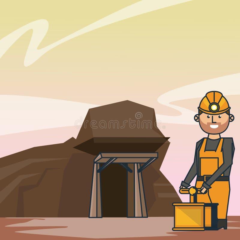 Cueva y trabajador mineros con el detonador stock de ilustración