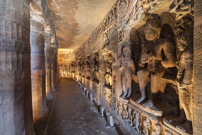 Cuevas de Ajanta, la India fotos de archivo