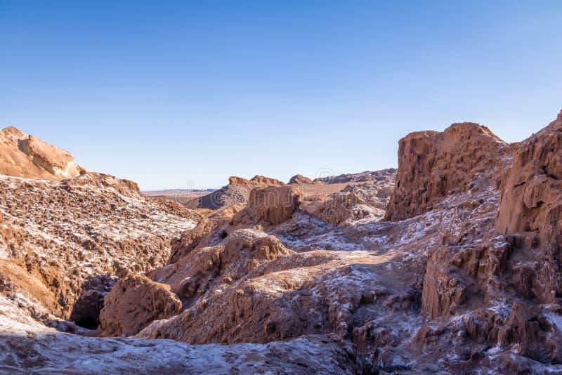 Cuevas de Sal Salt foudroie le canyon à la vallée de lune - désert d'Atacama, Chili photos libres de droits