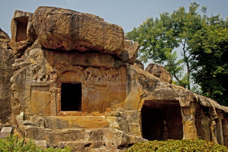Cuevas de Udayagiri imagenes de archivo