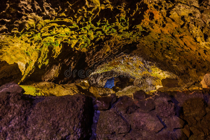 Cuevas volcánicas en el sao Vicente - Madeira Portugal foto de archivo libre de regalías