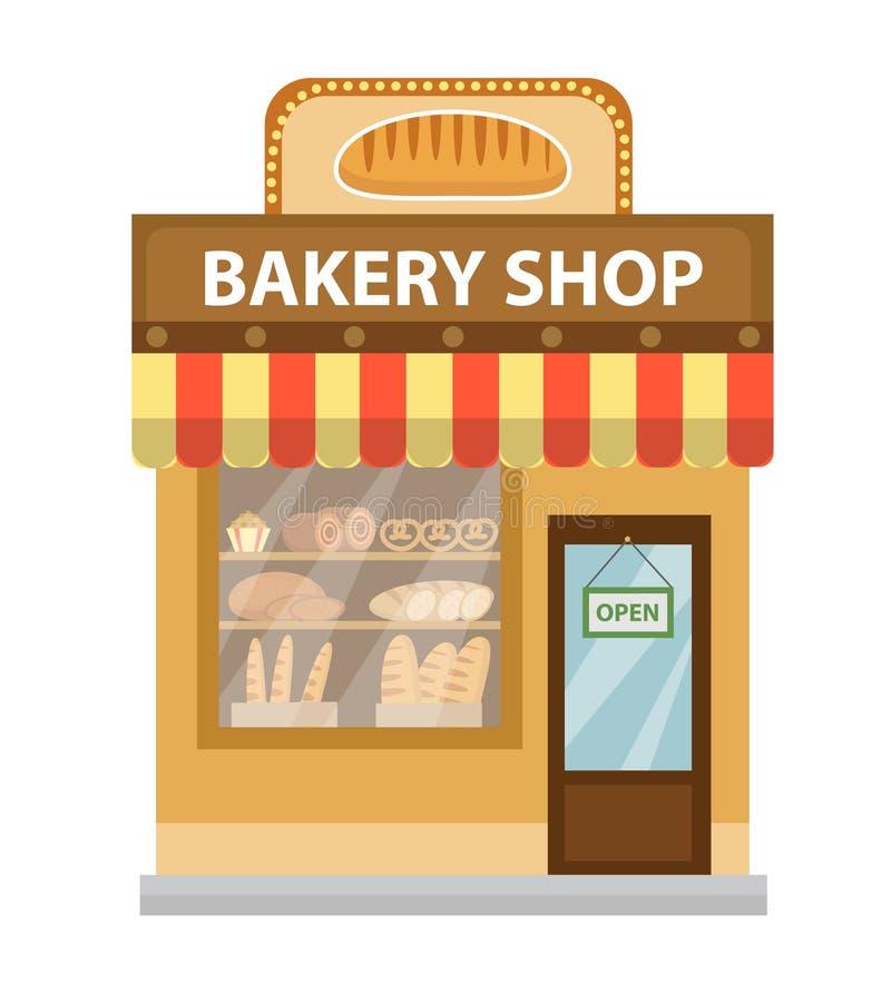 Cueza al horno el departamento Icono del edificio de tienda de la hornada Estilo plano del pan Tiendas del escaparate en la calle ilustración del vector