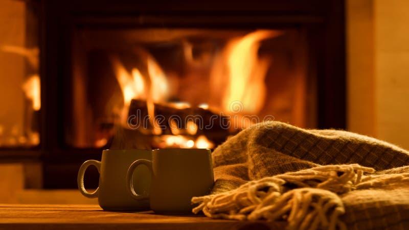 Cueza al vapor de tazas con un cacao caliente fotos de archivo libres de regalías