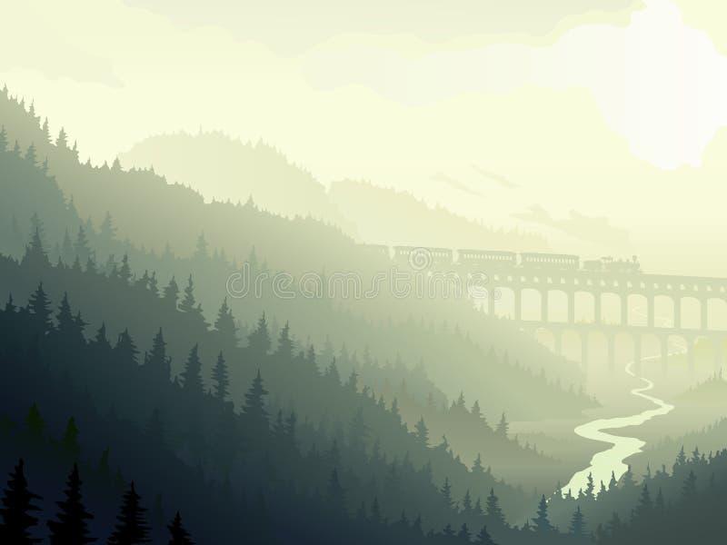 Cueza el tren al vapor en madera conífera salvaje en niebla de la mañana. libre illustration