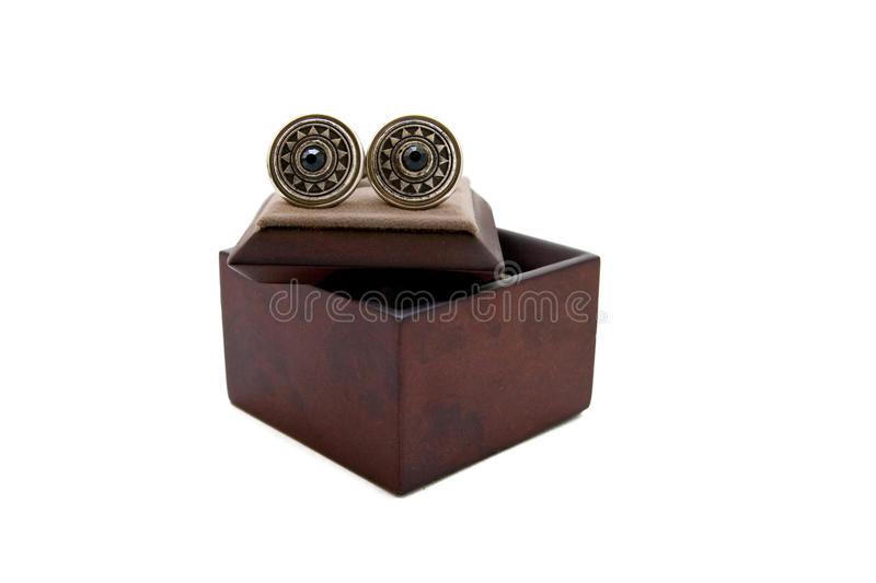 Cuff links in a box stock images