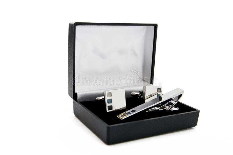 Cuff links in a box royalty free stock photography