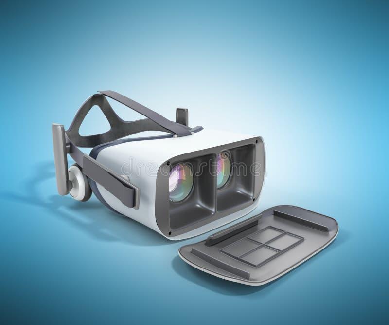 Cuffia avricolare in bianco e nero di realtà virtuale di VR isolata sulla parte posteriore del blu illustrazione vettoriale