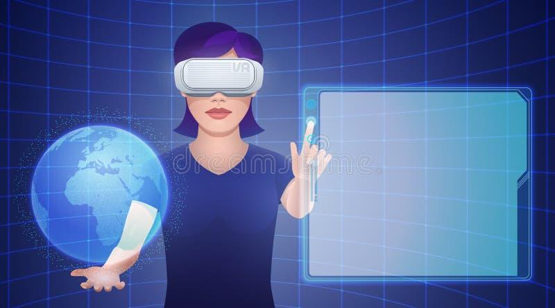 Cuffia avricolare d'uso di realtà virtuale della giovane donna con il globo immaginario royalty illustrazione gratis