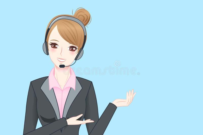 Cuffia avricolare del telefono di usura di donna di affari royalty illustrazione gratis