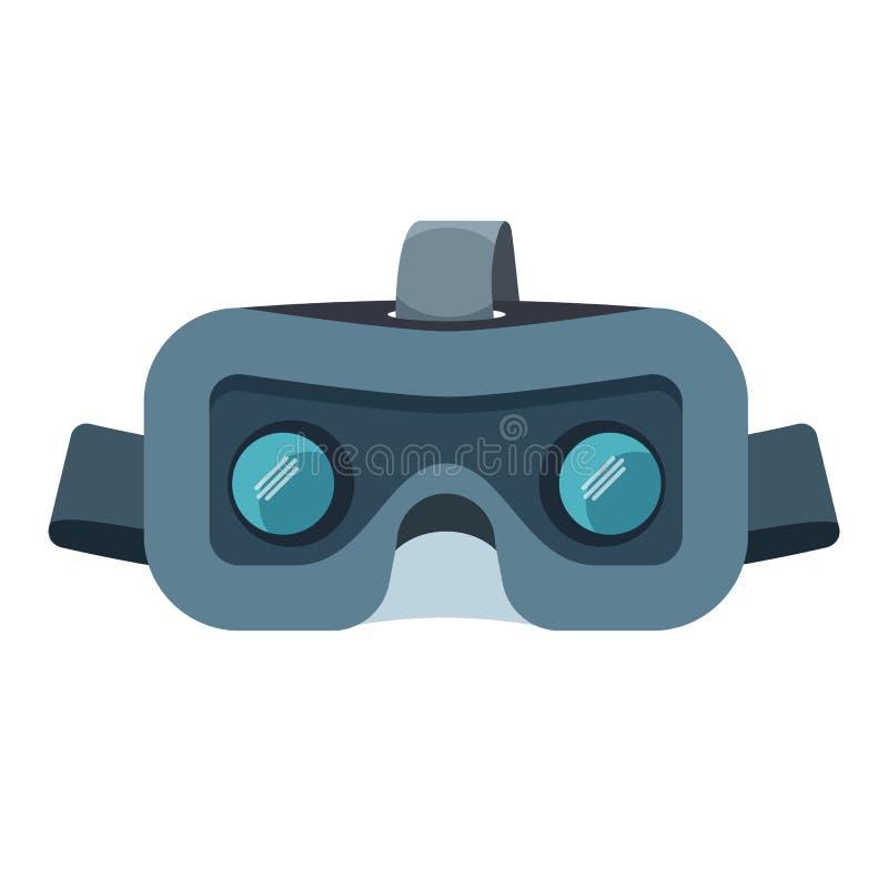 Cuffia avricolare di VR isolata su bianco Illustrazione stereoscopica di vettore di realtà virtuale illustrazione di stock