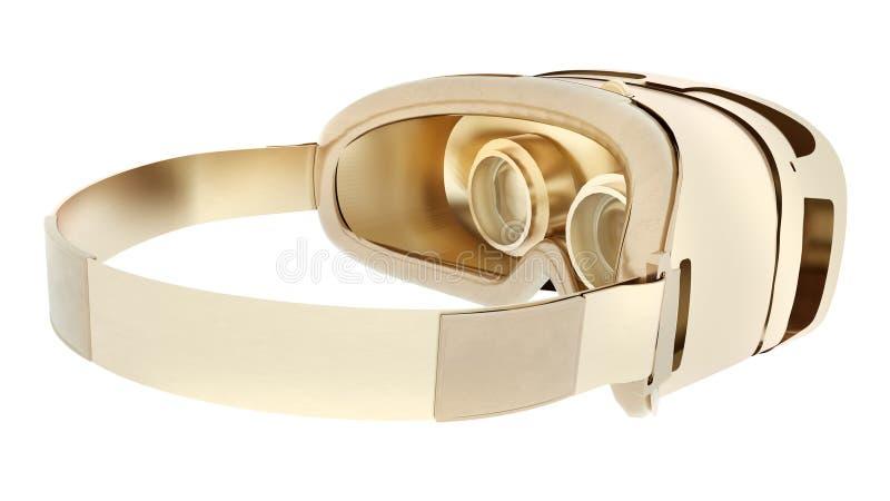Cuffia avricolare dorata di VR isolata su fondo bianco illustrazione 3D royalty illustrazione gratis