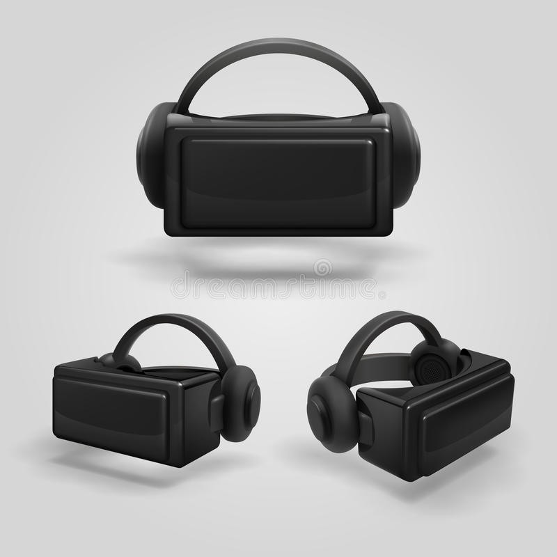 Cuffia avricolare ed occhiali di protezione stereoscopici di realtà virtuale Illustrazione realistica di vettore di vetro e delle illustrazione di stock