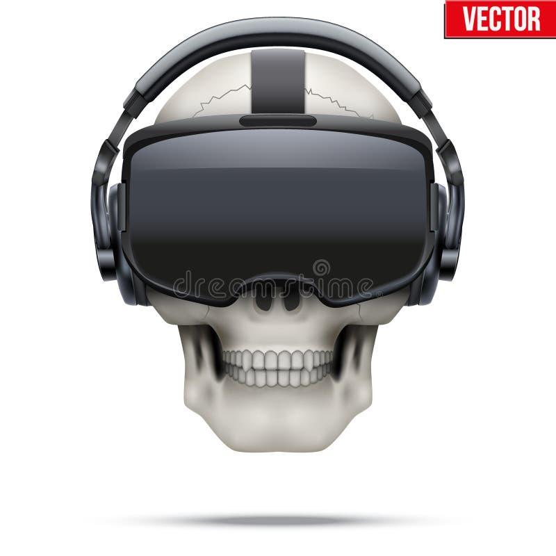 Cuffia avricolare stereoscopica originale e cranio di 3d VR illustrazione di stock
