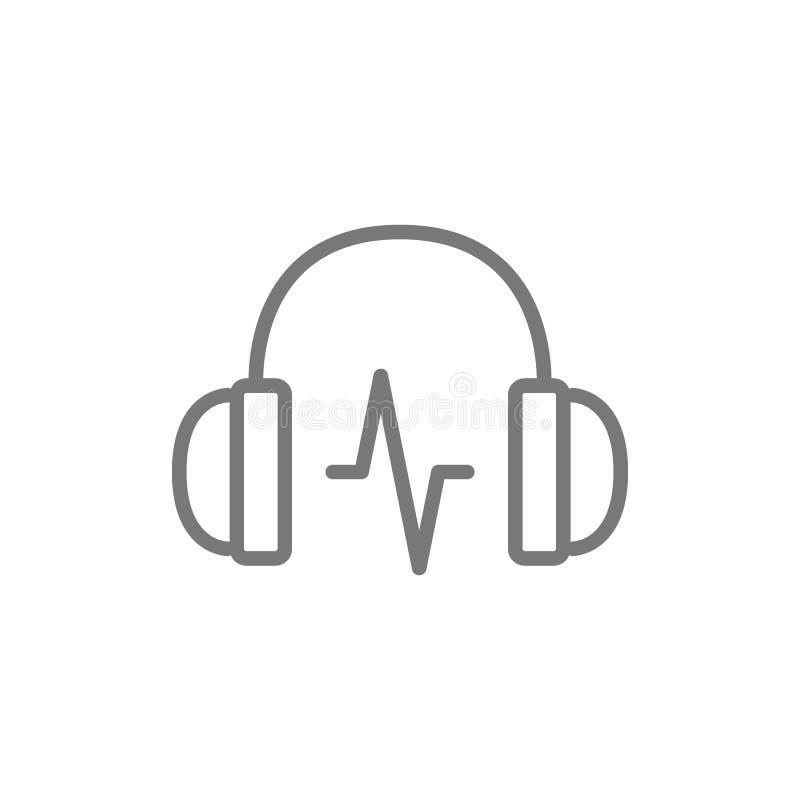 Cuffia con la linea icona dell'onda sonora royalty illustrazione gratis