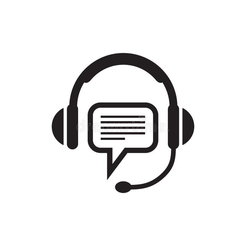Cuffia e fumetto - icona nera sull'illustrazione bianca di vettore del fondo per supporto o servizio Operatore consultantesi royalty illustrazione gratis