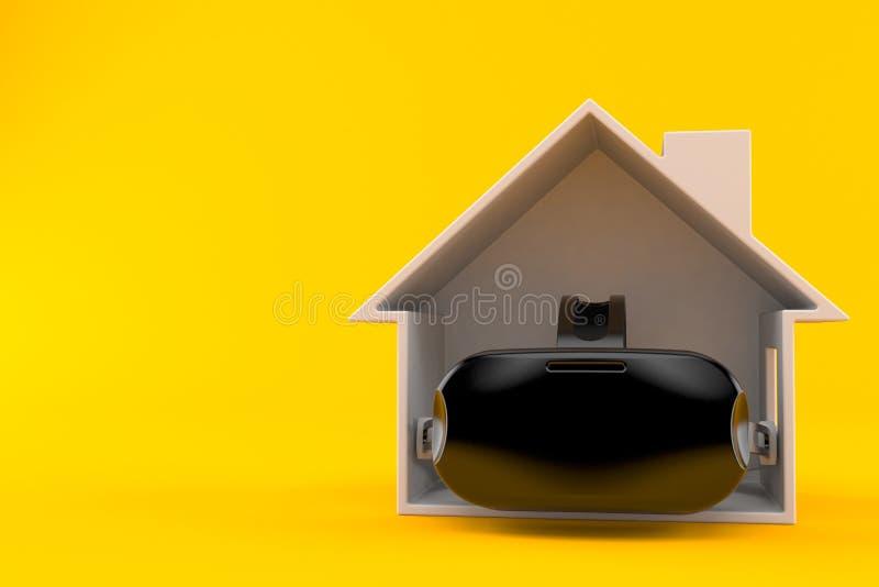 Cuffia VR all'interno della sezione trasversale della casa illustrazione di stock