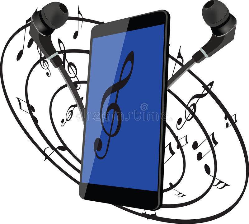 Cuffie del telefono cellulare per ascoltare la musica royalty illustrazione gratis