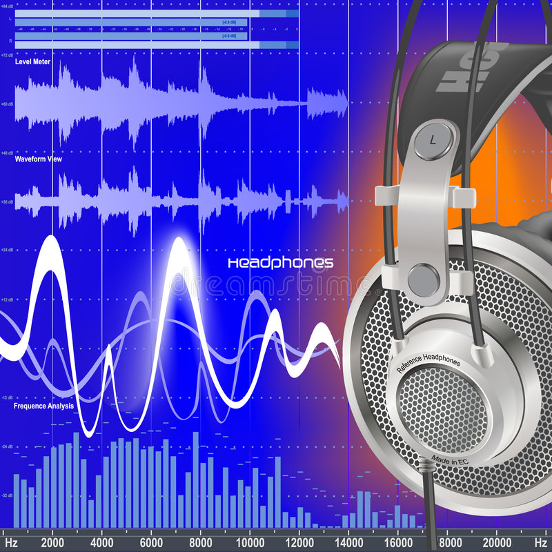 Cuffie ed audio compensatore illustrazione di stock