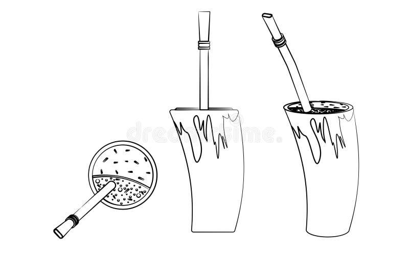 Cuia con agua, el compañero de Bombilia, y de Yerba para el terere Estilo del cuerno El esquema le gusta pinceladas stock de ilustración