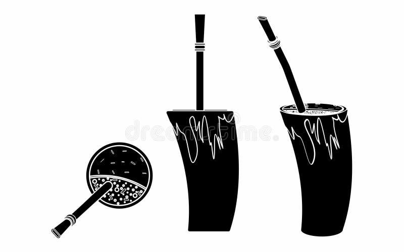 Cuia con agua, el compañero de Bombilia, y de Yerba para el terere Estilo del cuerno Terraplén negro stock de ilustración