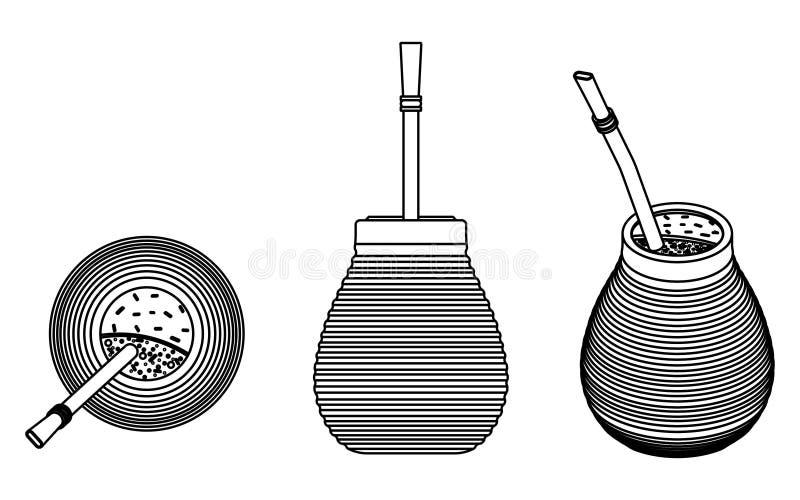 Cuia con Bombilia, agua y Yerba se acoplan para el terere Esquema solamente libre illustration