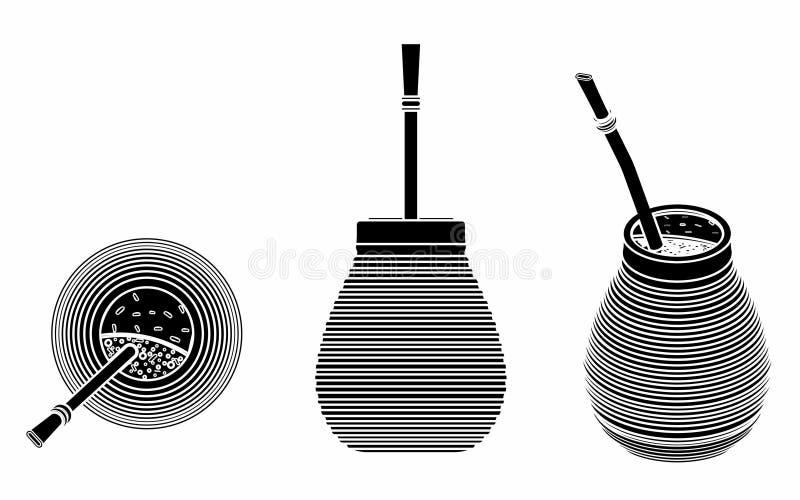 Cuia con Bombilia, agua y Yerba se acoplan para el terere Terraplén negro stock de ilustración