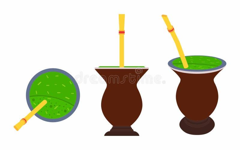 Cuia con el compañero, agua y Bombilia de Yerba libre illustration