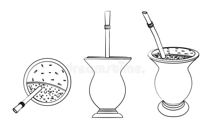 Cuia con el compañero, agua y Bombilia de Yerba Diverso esquema le gusta pinceladas stock de ilustración