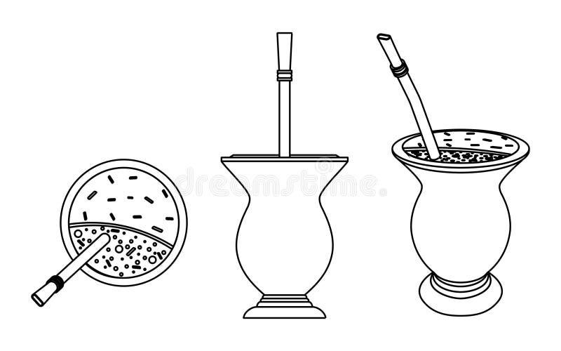Cuia con el compañero, agua y Bombilia de Yerba Esquema solamente libre illustration