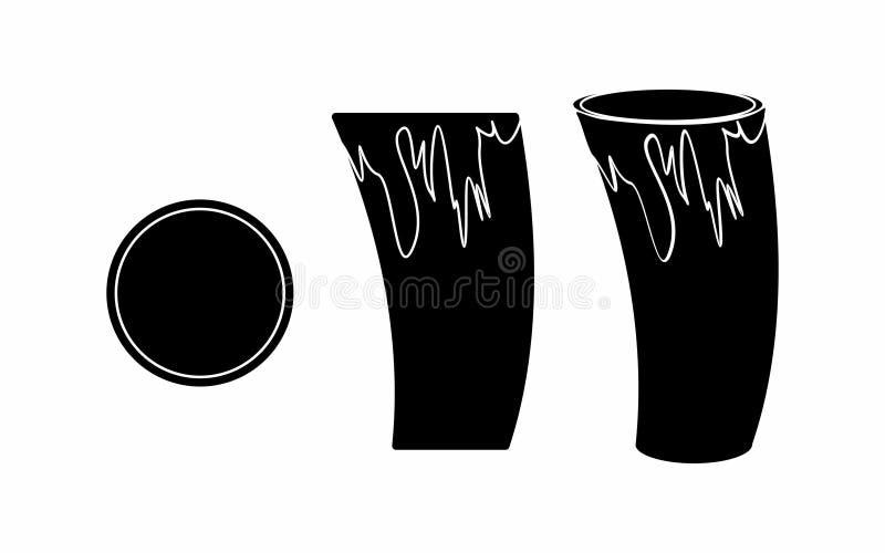 Cuia del compañero de Yerba para el terere Terraplén negro Estilo del cuerno stock de ilustración