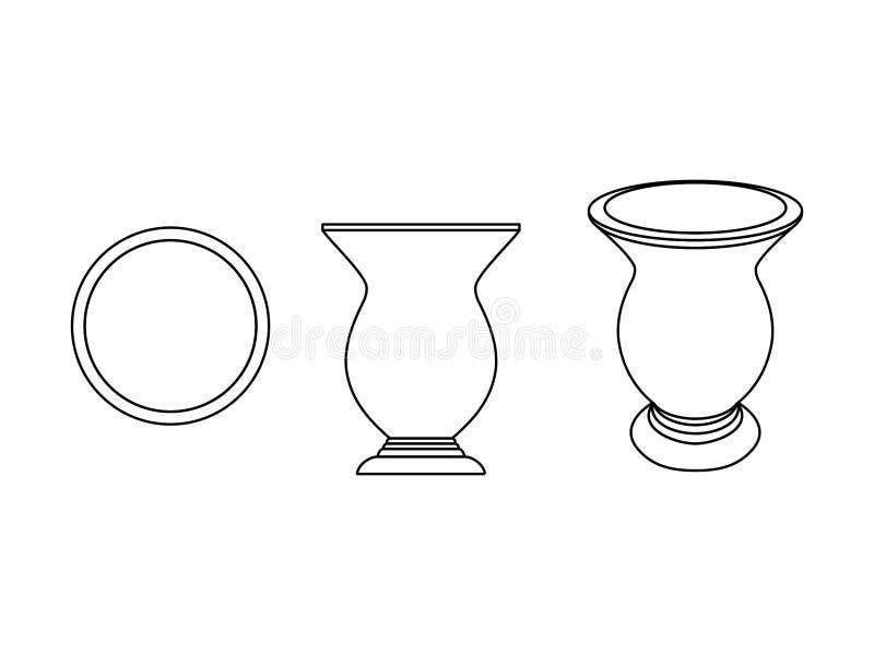 Cuia del esquema del compañero de Yerba solamente ilustración del vector