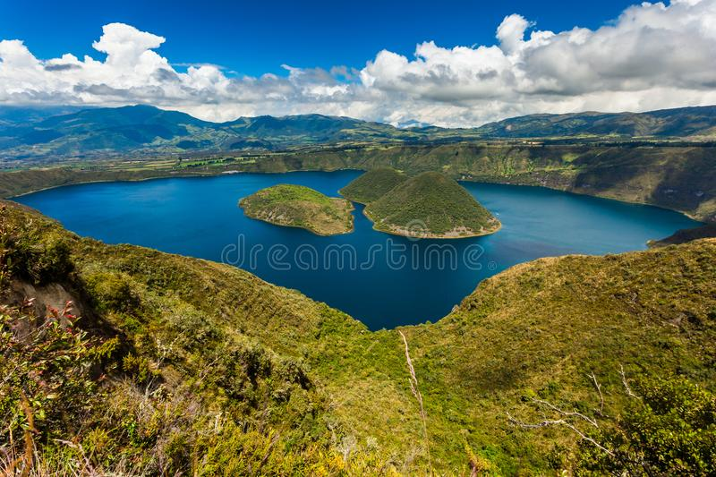 Cuicocha lagoon inside the crater of the volcano Cotacachi. Cuicocha, beautiful blue lagoon ine the crater of the Cotacachi volcano stock photo