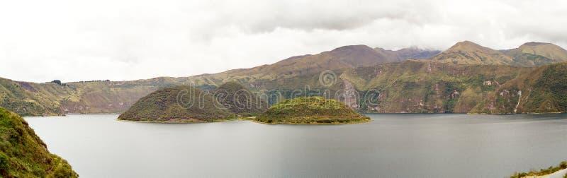 Cuicocha Lake, Ecuador. Lake Cuicocha in the crater of a Volcano with 3 green islands, Otavalo, Ecuador stock image
