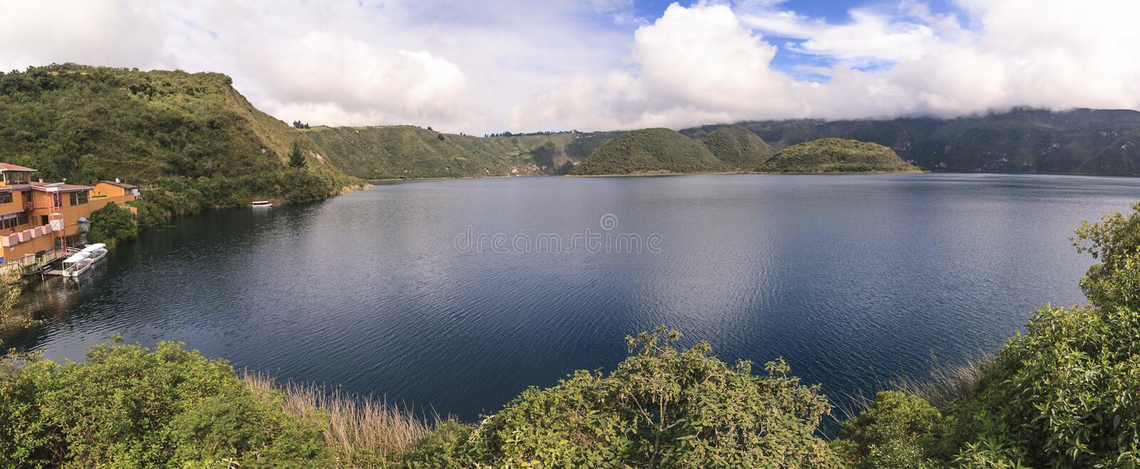 Cuicocha lake panorama near Cotacachi. Cuicocha, volcanic origined lake panorama view near Cotacachi, Ecuador, South America stock image