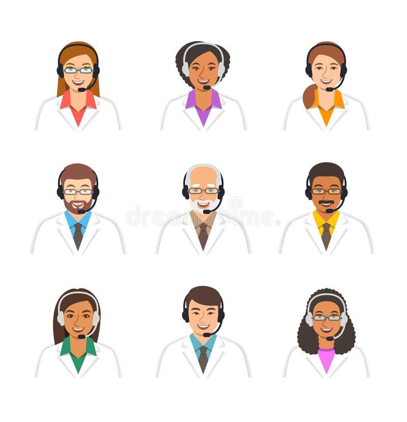 Cuida iconos médicos del vector de los operadores de centro de atención telefónica stock de ilustración