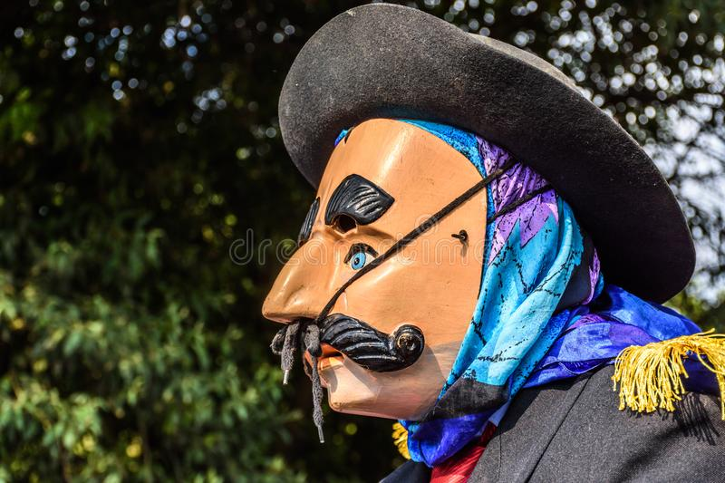 Local in traditional folk dance mask, Guatemala royalty free stock photos