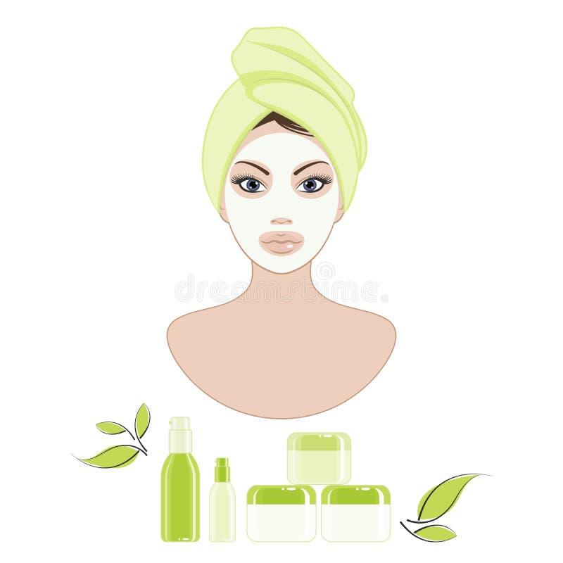 Cuidado cosmético de la cara ilustración del vector