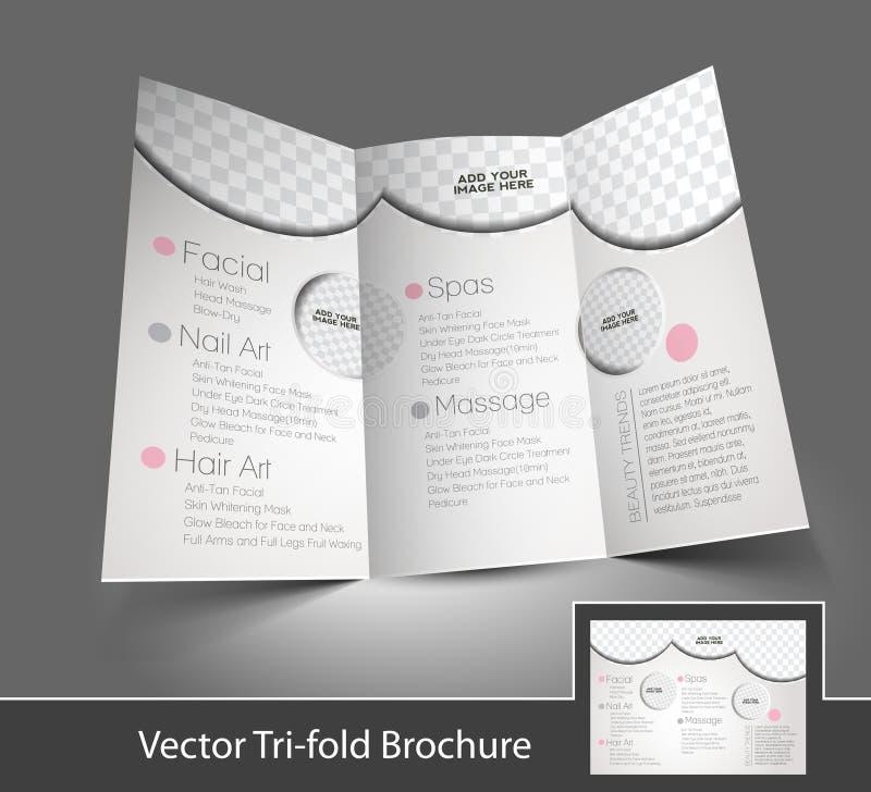Cuidado da beleza & folheto dobrável em três partes do salão de beleza ilustração do vetor