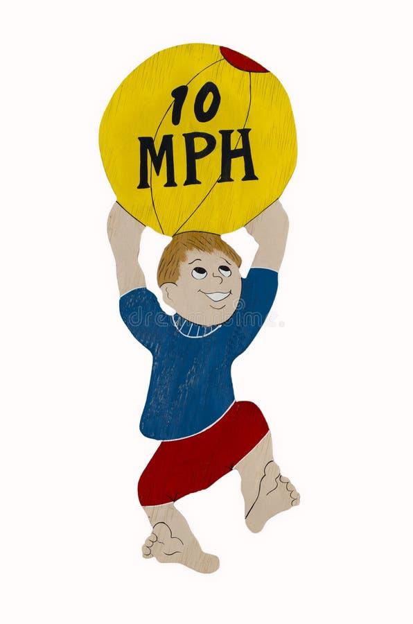 Cuidado das crianças sinal de 10 mph ilustração do vetor