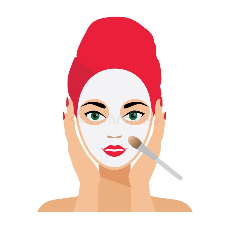 Cuidado de la cara y ejemplo plano del vector del tratamiento imagenes de archivo