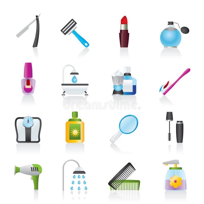 Cuidado de la carrocería e iconos de los cosméticos libre illustration