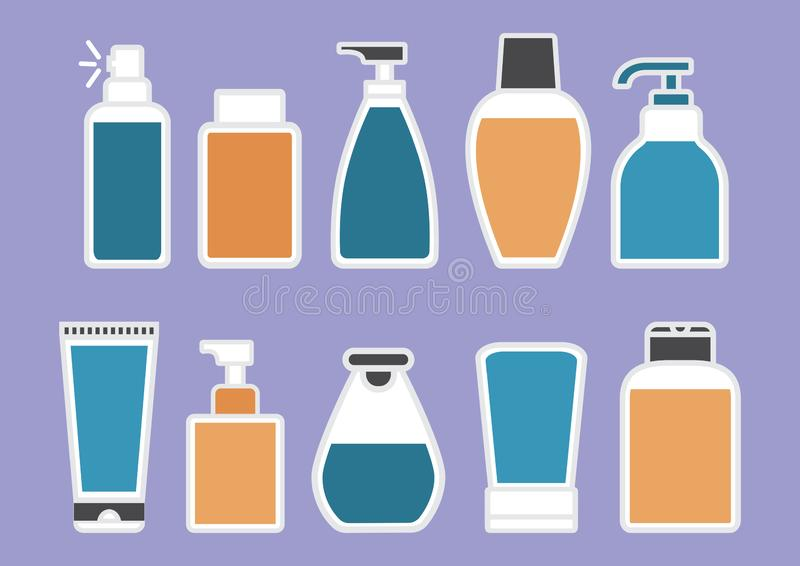 Cuidado de la carrocería Fije de la botella cosmética y médica con el líquido colorido Ilustración del vector stock de ilustración