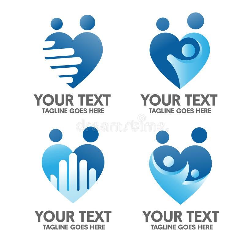 Cuidado de la familia y concepto del logotipo del amor libre illustration