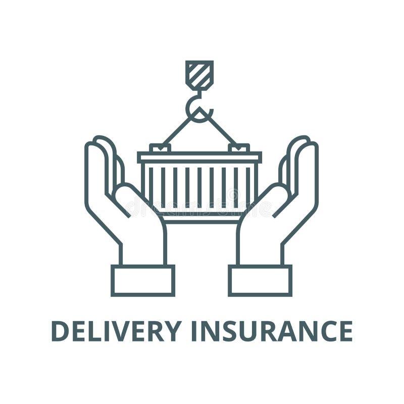 Cuidado de la logística, línea icono, concepto linear, muestra del esquema, símbolo del vector del seguro de la entrega stock de ilustración