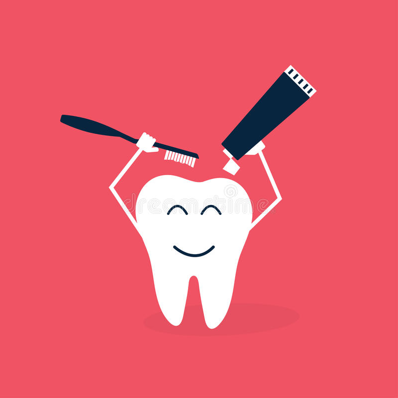 Cuidado de los dientes e historieta de la higiene ilustración del vector