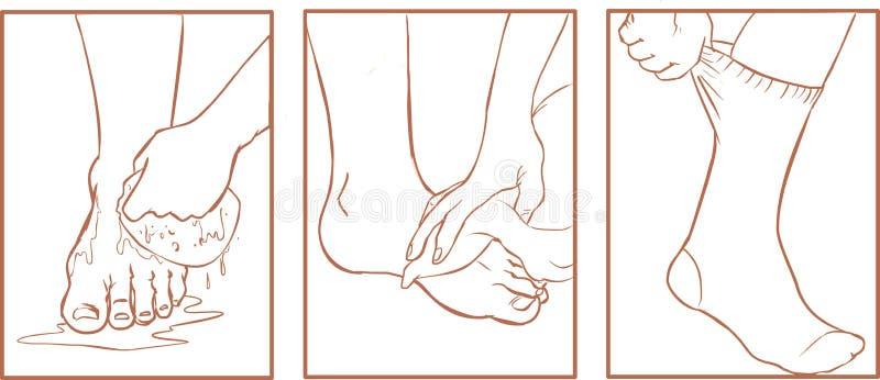 Cuidado de pé ilustração royalty free