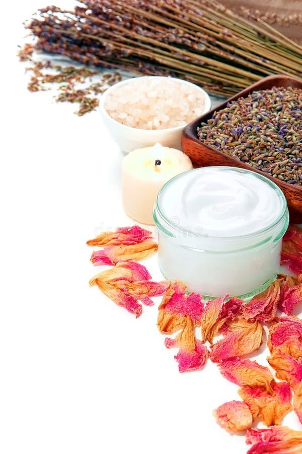 Cuidado de pele facial cosmético no frasco de vidro em uns termas fotos de stock royalty free